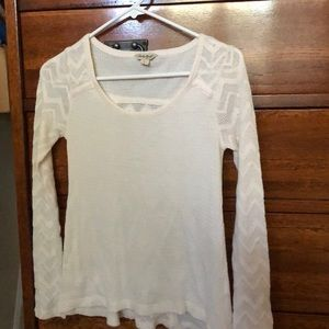 Lucky Brand Ecru thermal top with patterns